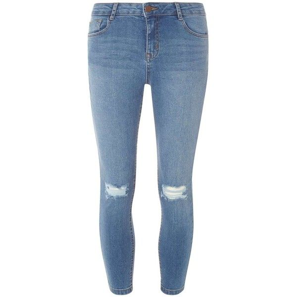 Dorothy Perkins Midwash Rip Darcy Ankle Jeans found on Polyvore featuring jeans, pants, bottoms, blue, blue jeans, ripped skinny jeans, short jeans, distressed skinny jeans and short pants