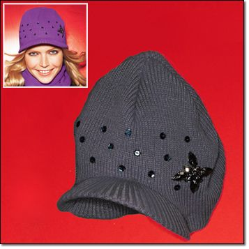 """Jeweled Brimmed Hat* Sequin accents. One size fits most. 7 3/4"""" H x 7 1/2"""" W. Acrylic. Hand wash and dry. Imported. Purple, Grey Brochure + Gift Guide: $9.99 each"""