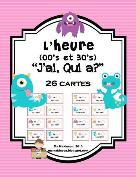 """***FLASH FREEBIE*** French Time (00's and 30's) """"J'ai..Qui A"""" 26 cards"""