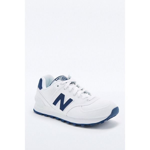 New Balance 574 White Classic Running Trainers (€95) ❤ liked on Polyvore featuring shoes, athletic shoes, white, retro running shoes, new balance athletic shoes, cushioned running shoes, new balance shoes and traction shoes