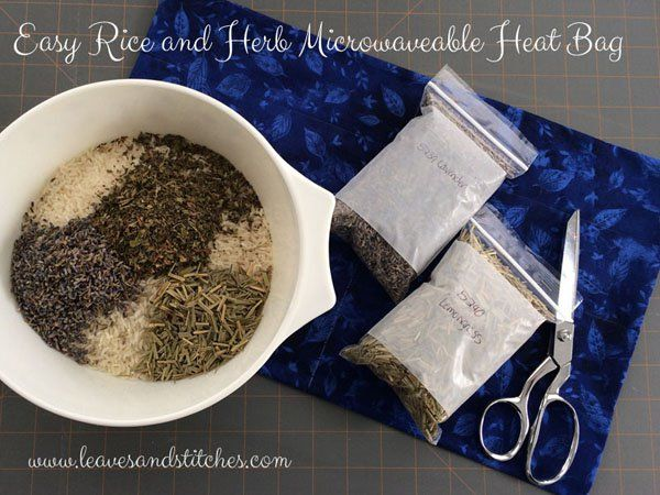 Easy herb and rice microwave heat pack tutorial. Smells lovely and soothes achy muscles.