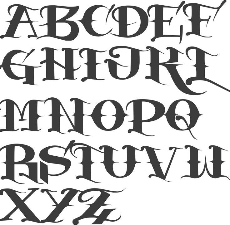 alfabeto de estilos de fonte | MyFonts: Fontes de tatuagem   – Schriften