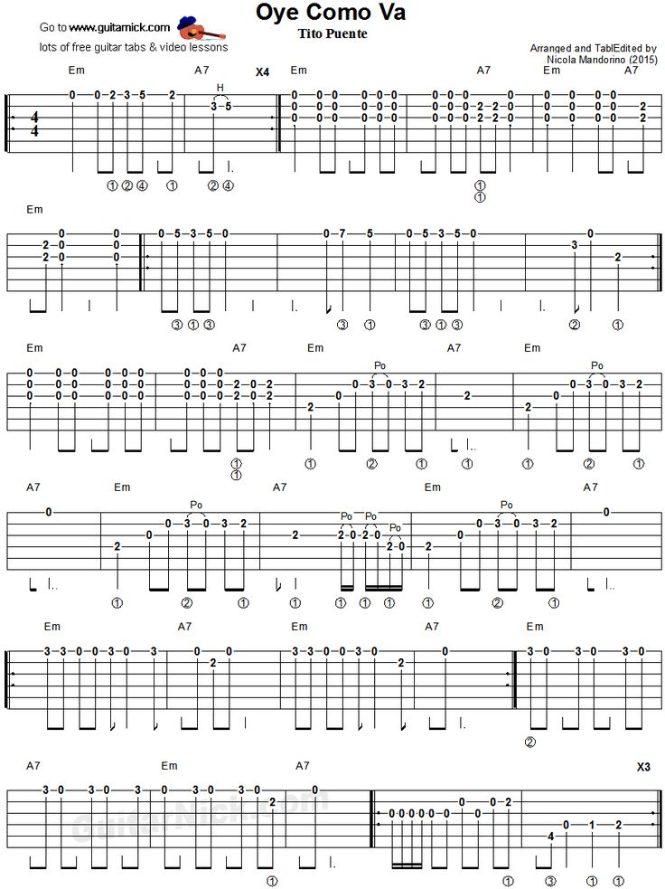 Oye Como Va: easy guitar tablature 1