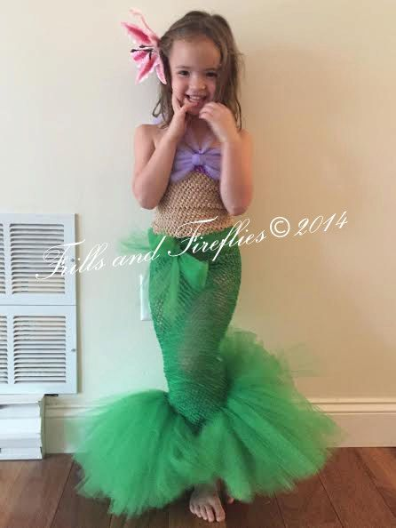 Little Mermaid Tutu Costume Set w/Flower Hair Clip, Tail is ...