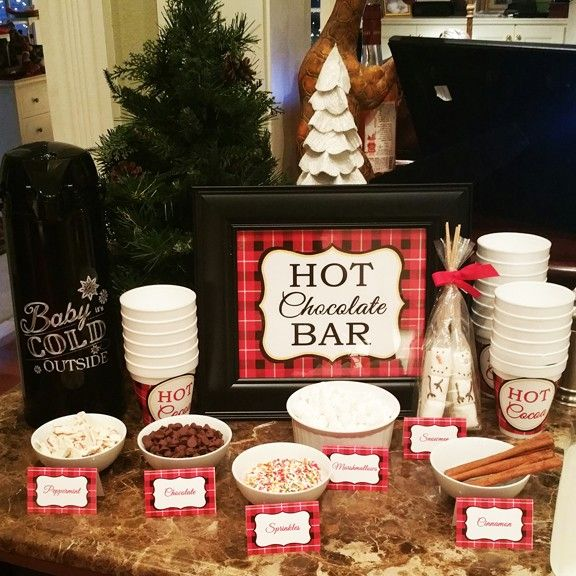 "Christmas Plaid ""Hot Chocolate Bar"" 8x10"" Sign"