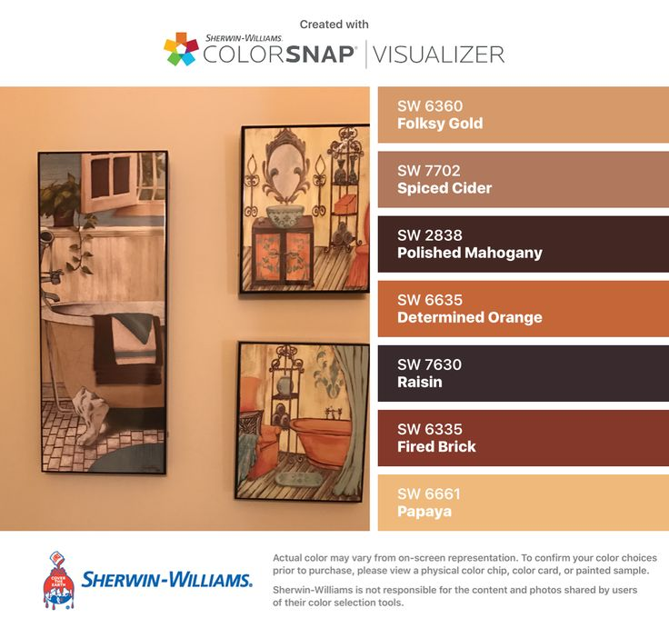 I Found These Colors With Colorsnap Visualizer For Iphone By Sherwin Williams Folksy Gold Sw Ed Cider Polished Mahogany Determined Orange