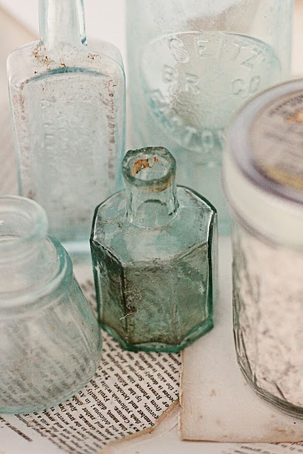 inkwells and medicine bottles