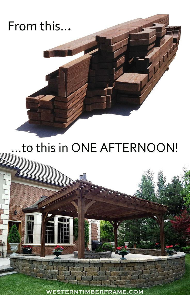 Western Timber Frame solid wood pergola kit before assembly and after.
