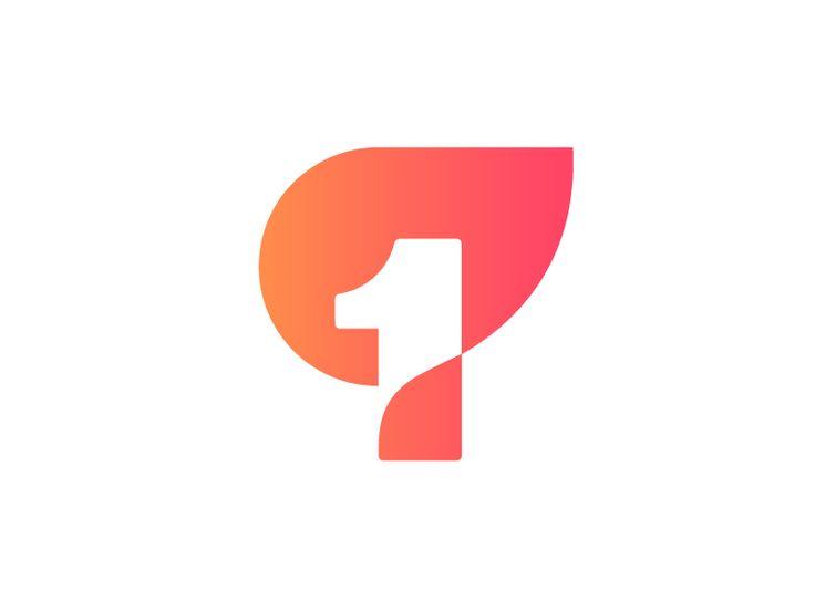 1 + fire logo concept