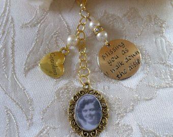 Ivory Swarovski Bead Gold Tone Grandma Memorial Bouquet Photo Charm Wedding - £10.00 plus p&p