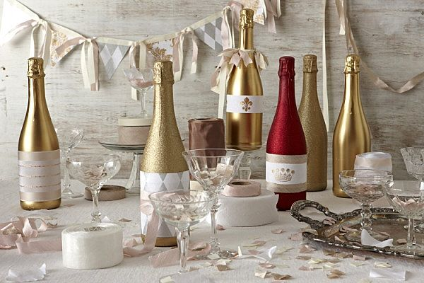 Decoration Gorgeous DIY Champagne Bottle Centerpiece With Stylish Glass Design Ideas Elegant Wedding Decorations Considerations