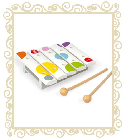 $12.95 -  Janod Mini Xylophone - A delightful mini 5 note wooden xylophone presented as one of the items in the attractive Janod Confetti range. All Janod toys are designed in France and manufactured to strict quality and safety standards, meeting both European and Australian requirements. Ages 12 month +