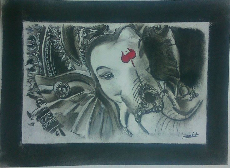 LORD GANESHA CHARCOAL SKETCH BY Swanand Bhagat(INKLLUSION)
