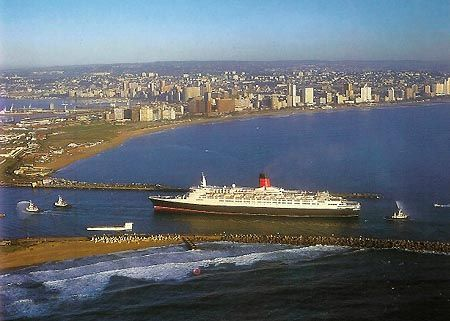 QE2 entering Durban Harbour - we watched from our balcony to see if we could see her arrive - but no luck?!?