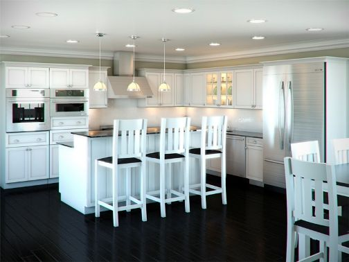 L Shaped Kitchen with Island White