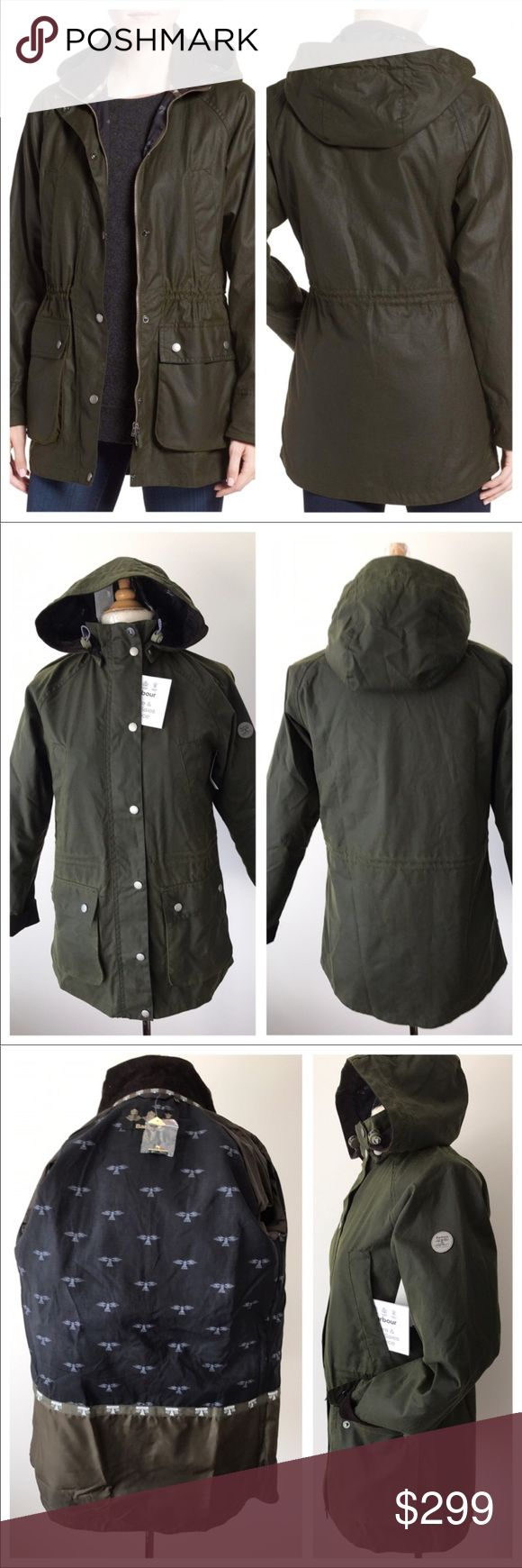 "NEW Barbour Brae Waxed Parka Coat☔️💂‍♀️☃️ A corduroy-trimmed collar and removable hood enhance the cold-weather appeal of an oversized, waxed-cotton parka. ☔️drawstring waist and signature Beacon-print cotton lining help keep wind and rain out, and raglan sleeves and a lower back hem complete the sporty look 30 1/2"" length (size US4 Two-way front-zip closure with snap placket snap-flap pockets Removable hood Interior drawstring at waist 100% waxed cotton Brand new store without tags  Has…"