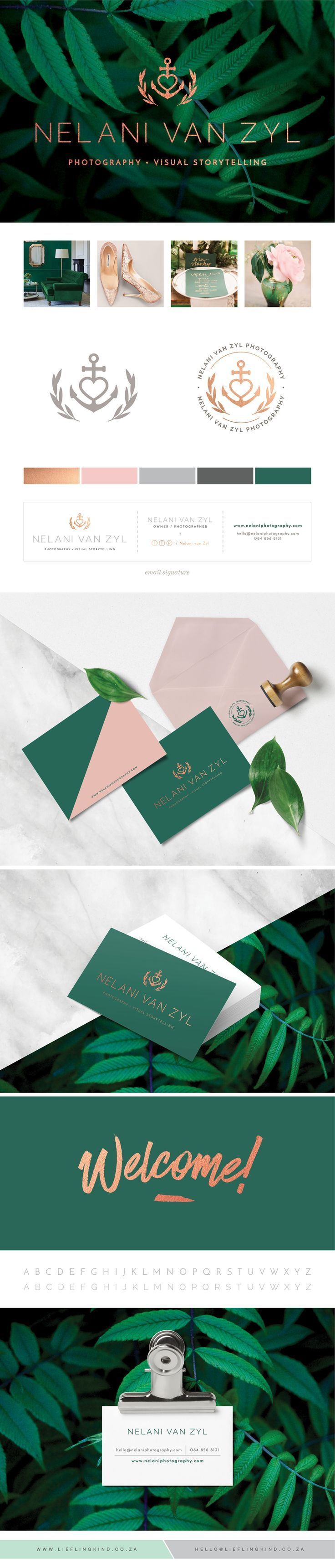 Professional, Sophisticated, Clean, Minimalist Branding for Nelani van Zyl Photography.  Emerald Green. Blush Pink. Rose Gold. Corporate Identity. Brand. Logo. Business Card. Thank you note. Anchor. Olive branch. Feminine. Icon. Nautical.. If you're a user experience professional, listen to The UX Blog Podcast on iTunes.