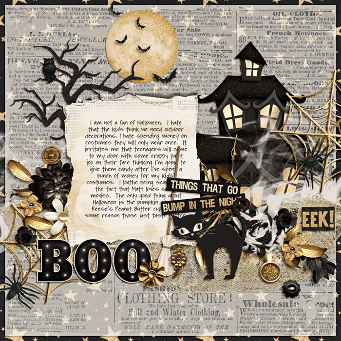 Boo! - Scrapbook.com  Such a cute layout for someone who dislikes Halloween so much.