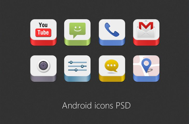 Android Icons PSD for Free Download – Freebie No: 86