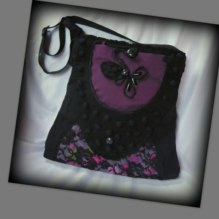 Handmade by Judy Majoros - Purple lace shoulder bag. Crossbody bag.Recycled bag
