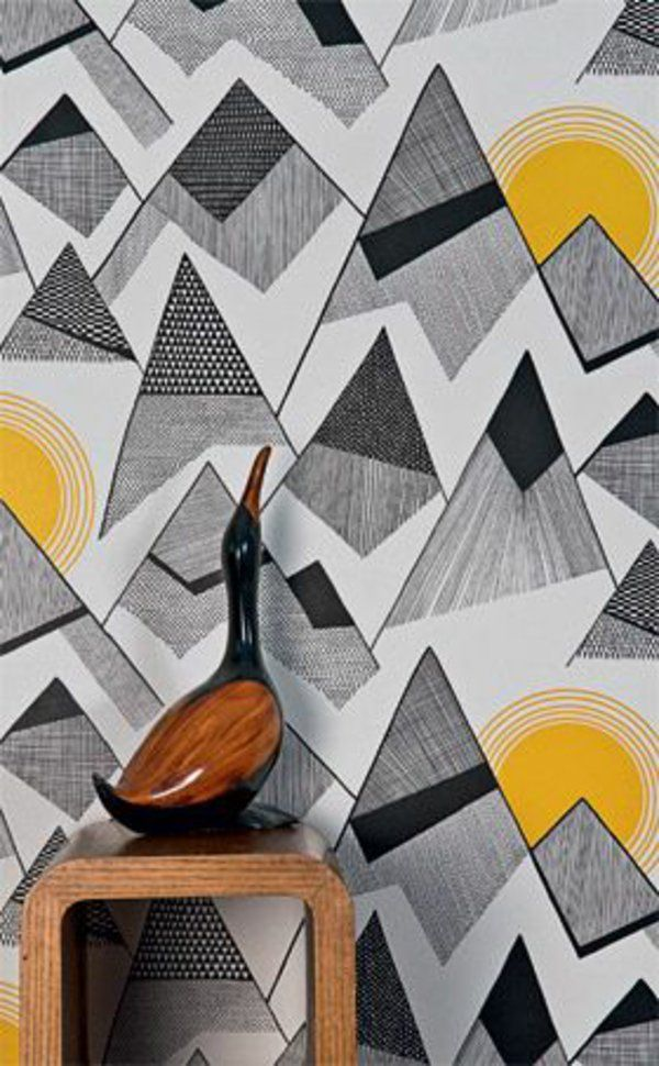 geometrisch ausgefallene tapeten gelb grau