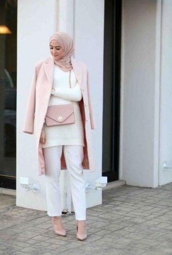 pink coat hijab winter style, Winter hijab street styles by leena Asaad http://www.justtrendygirls.com/winter-hijab-street-styles-by-leena-asaad/