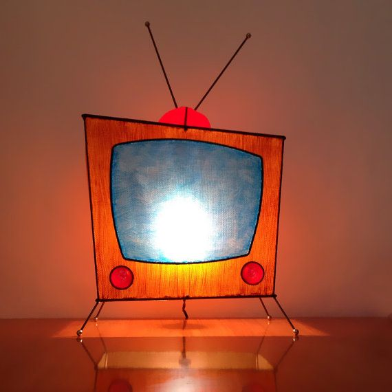 RARE Retro TV Lamp / 1950's Novelty Light / Atomic Era / Handmade Artist Signed