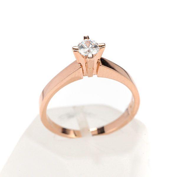Μονόπετρο δαχτυλίδι Al'oro  Κ18 ροζ χρυσό  διαμάντι 1495