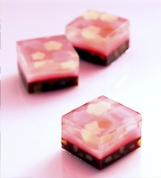 Japanese sweet jellies. They look like cast glass to me.