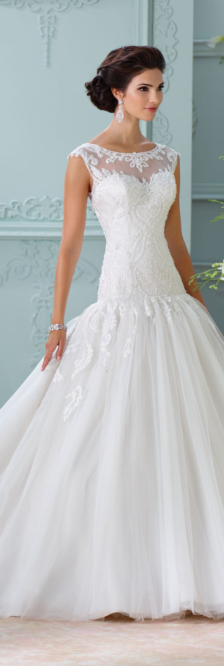 The David Tutera for Mon Cheri Spring 2016 Wedding Gown Collection - Style No. 116226 Chiara #weddingdresseswithsleeves