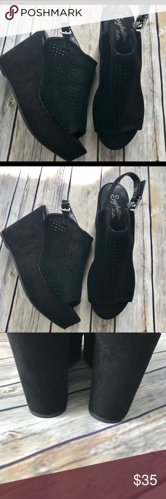 Seychelles Wedges Beautiful suede perforated slingback wedges. Worn once and look fantastic. Seychelles Shoes Wedges