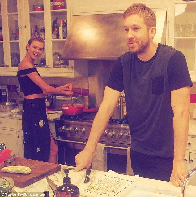 Birthday girl: Taylor Swift wished her BFF Karlie Kloss a happy birthday by posting this picture of her and her beau Calvin Harris on Instagram on Monday