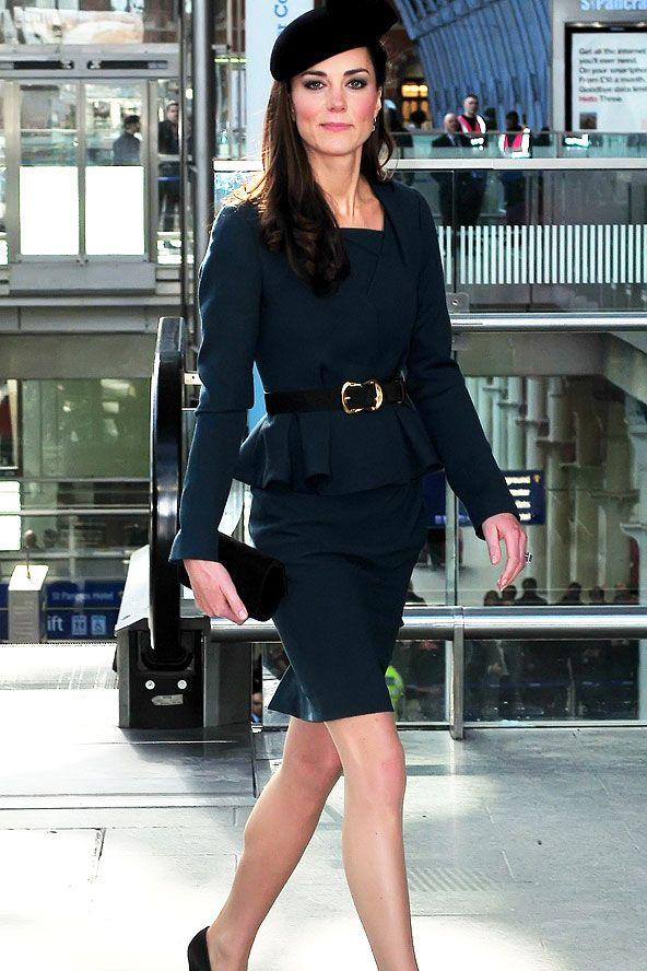 Kate Middleton in a LK Bennett's Jude jacket, matching Davina dress, a James Lock pillbox hat, and Episode heels. www.glamourmagazi... #KateMiddleton