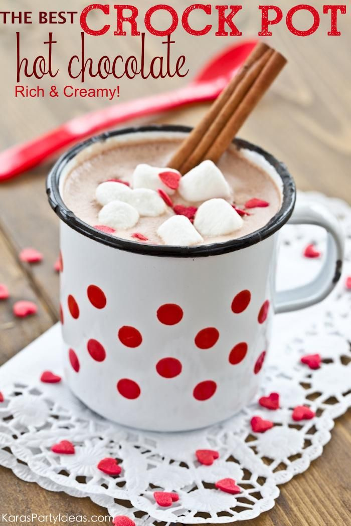 THE best Crock Pot : Slow Cooker HOT CHOCOLATE RECIPE! Rich and creamy! Via Kara's Party Ideas KarasPartyIdeas.com