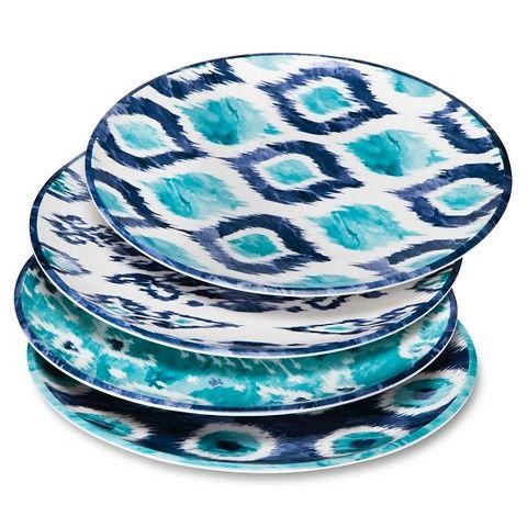 Mudhut™ Blue Ikat Melamine Dinner Plates   Set Of 4