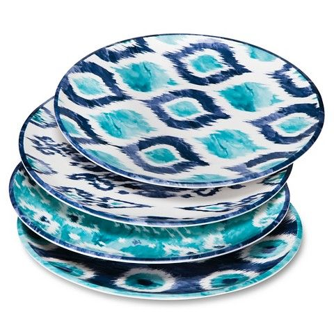 Mudhut™ Blue Ikat Melamine Dinner Plates - Set of 4