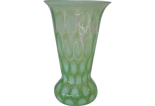 Opaline Vaseline Glass VaseVaseline Glasses, Seafoam Green, Opaline Glasses, Green Art, Glass Vase, Glasses Vases, Lumineers Green, Art Glasses