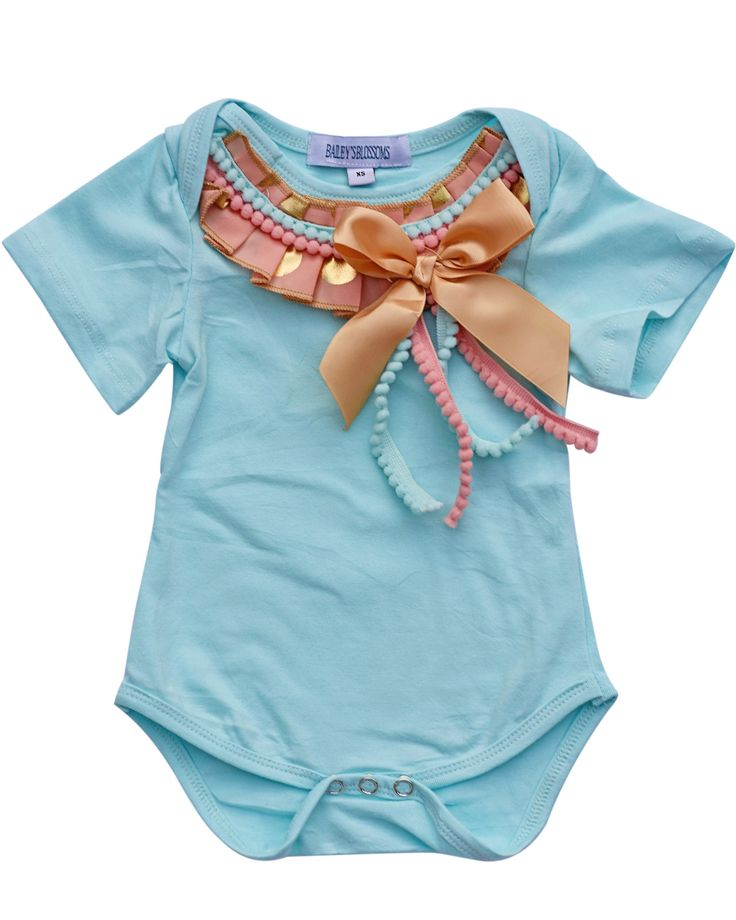 For lovers of all things fancy, it doesn't get much more adorable than this!  These sweet onesies are embellished with ribbons and bows, and all sorts of frills