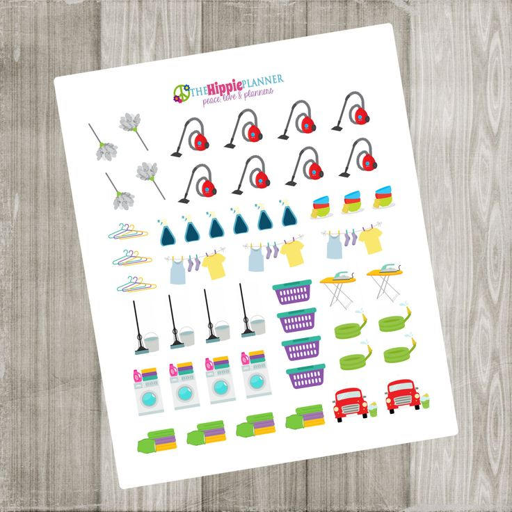 Cleaning Mini Kit Chore Stickers | Set of 52 | Erin Condren Life Planners, Plum Paper, Filofax, Scrapbooking, Calendars