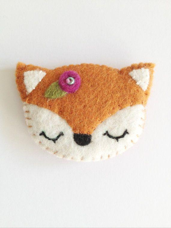 NEW 2014 felt fox brooch by littlehappystitches on Etsy, $10.00