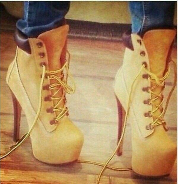 Women Zigigirl Nubuck Tan Timberland Like Sexy High Heel Shoes Stiletto  Boots