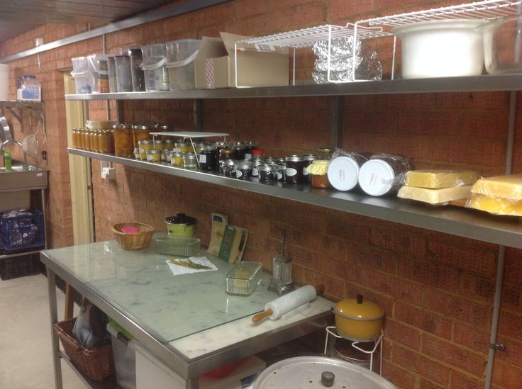 Project completed - The preserved food area including our honey. Pastry table and shelving recycled from Darling Harbour convention centre.