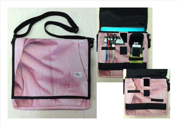 Shoulder Bag to computer. Made of recycled materials. Risako.