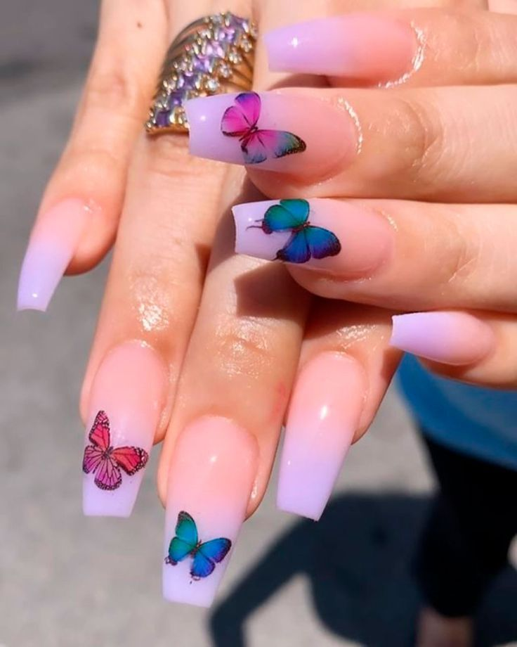 20 Cute Short Coffin Butterfly Nails In 2020 Purple Ombre Nails Ombre Nail Art Designs Nail Art Ombre