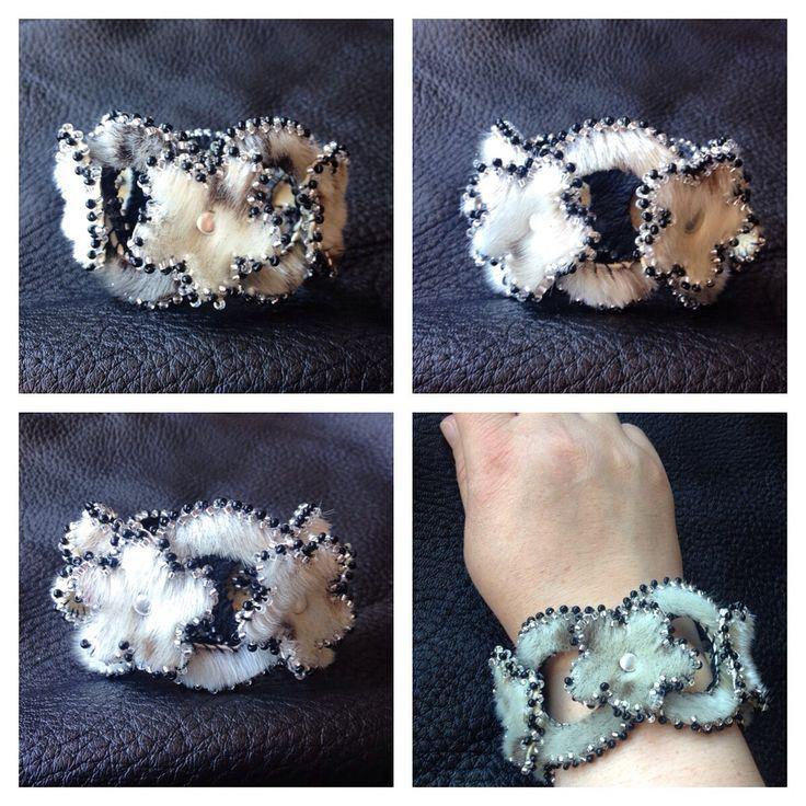 Beaded Sealskin Natchiq Bracelet with Flowers by Lisa Adams: Barrow, Alaska ✂️