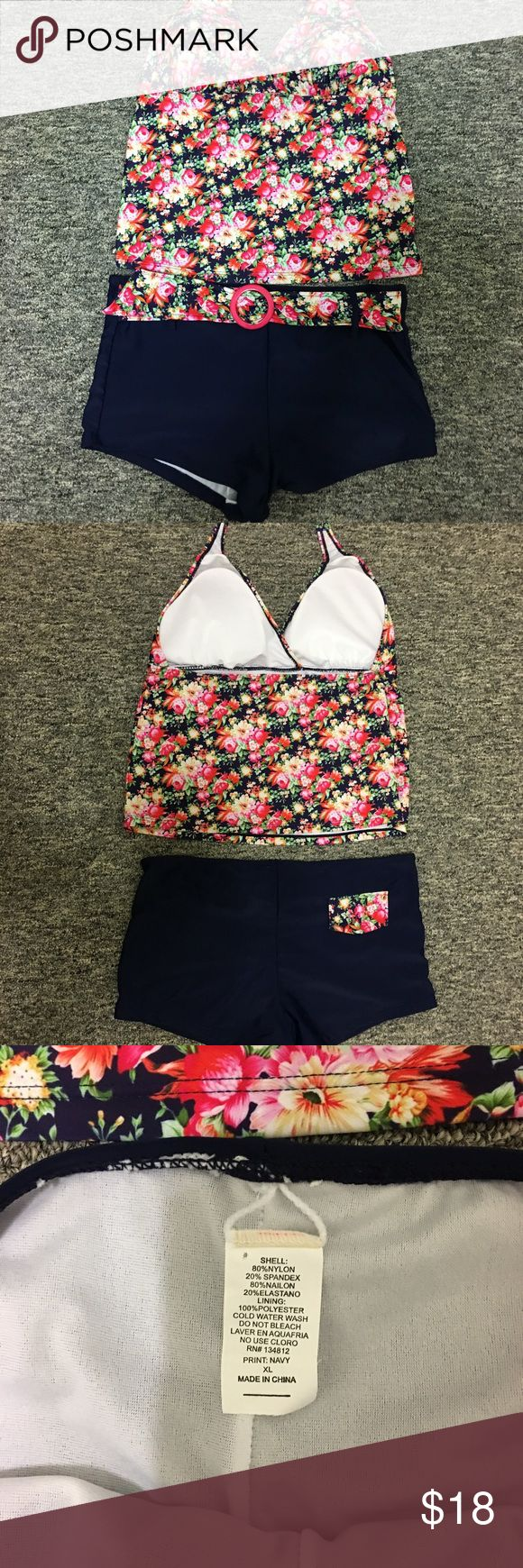 Tankini Pink/White/Red Floral & Navy XL NWOT Cute Halter Style Tie Top, Tankini with Pink/White/Red/Green floral pattern & Navy boy short style bottoms with matching floral belt, bright pink plastic buckle.  Also, floral pocket detail on rear bottoms. White lining in both pieces.  Removable bra cup inserts.  Purchased in Las Vegas.  NWOT. Swim Bikinis