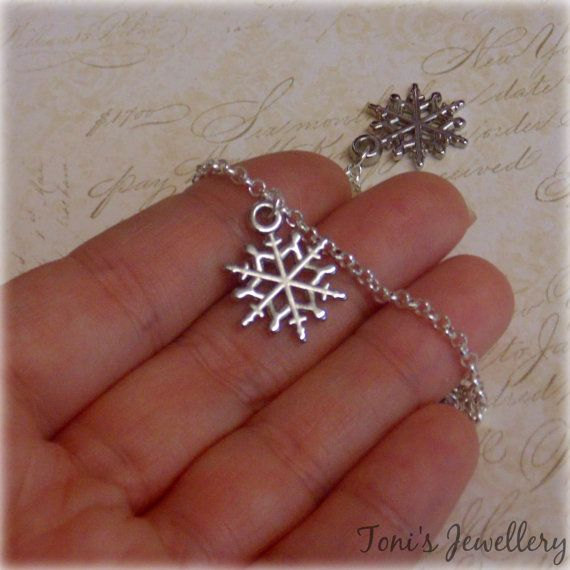 Simple Snowflake Anklet  Silver Plated. Extendible