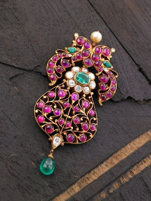 Indian Jewellery and Clothing: Elegant temple ruby pendant from Arnav jewellers..