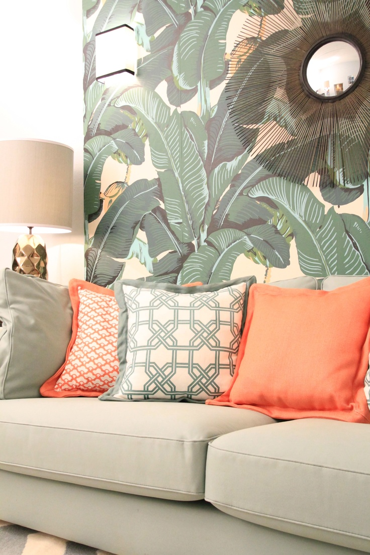 Tropical House Project by Ana Antunes - for Tv Makeover Show Portugal, Martinique wallpaper, Caitlin Wilson Fabrics, sun mirror