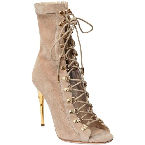 Balmain Women 110mm Ava Suede Lace-up Boots (£1,250) ❤ liked on Polyvore featuring shoes, boots, ankle booties, heels, balmain, heeled ankle booties, suede heel boots, high heel booties, heeled booties and suede boots